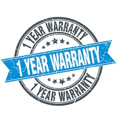 1 year warranty blue round grunge vintage ribbon vector image vector image