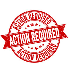 action required round grunge ribbon stamp vector image vector image