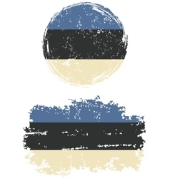 Estonian round and square grunge flags vector image vector image