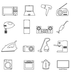 home electrical appliances outline icons set eps10 vector image vector image
