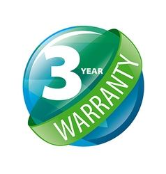 logo in the shape of a circle 3 year warranty vector image