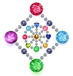 Rhombus-circle composition colored gems set vector image