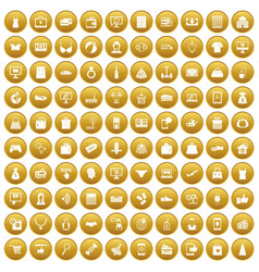100 online shopping icons set gold vector