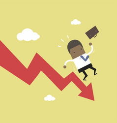 african businessman on falling down graph vector image