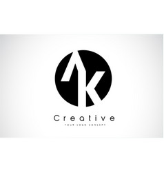 ak letter logo design inside a black circle vector image