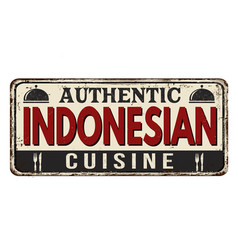 authentic indonesian cuisine vintage rusty metal vector image