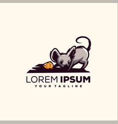 Awesome mouse chess logo design vector
