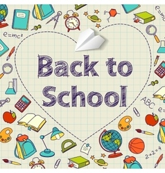 Back to school text end doodle vector image