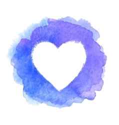 Blue watercolor painted heart shape frame vector
