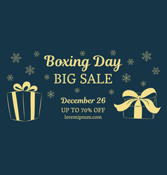 boxing day big sale horizontal banner gold gifts vector image