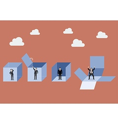 Businessman is getting out of the box vector image
