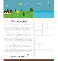 Camping template with text Outdoors Summer vector image