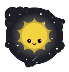 cartoon yellow star sun in the sky vector image