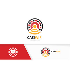 casino and wifi logo combination chip and vector image