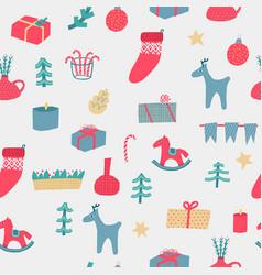 christmas decoration deer tree seamless pattern vector image