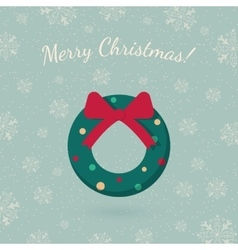 Christmas wreath garland on winter backdrop vector