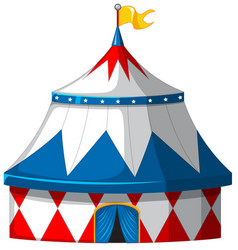 Circus tent in blue and white color vector