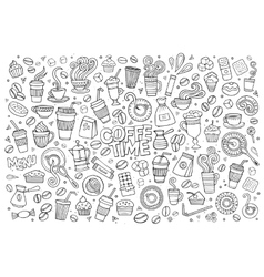 Coffee time doodles hand drawn symbols vector