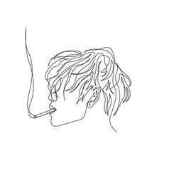Continuous one line man with wavy hair smoking vector