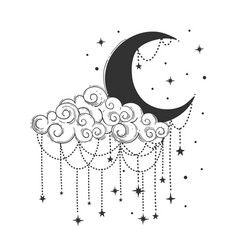 Crescent moon and cloud with decorations and stars vector