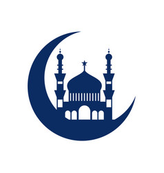 Crescent mosque islamic design vector
