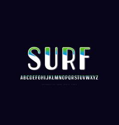 Decorative sans serif font with color flashing vector
