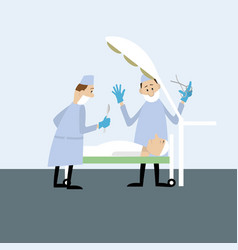 doctors in the operating room vector image