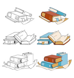 Doodle hand drawn sketch books icons and coloring vector