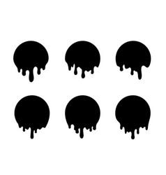 dripping black circles liquid drops ink vector image