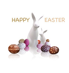 easter greeting card with white bunnies vector image