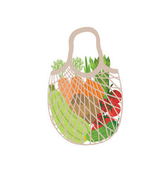 eco bag full vegetables modern shopper vector image