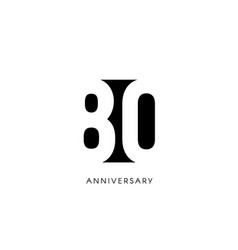 eighty anniversary minimalistic logo eightieth vector image