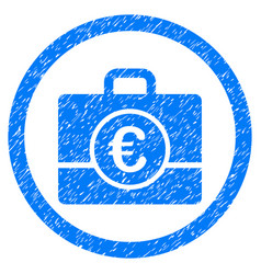 Euro accounting case rounded icon rubber stamp vector