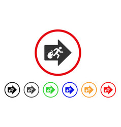 Fire exit rounded icon vector