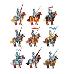 Flat set of medieval knights on horseback vector