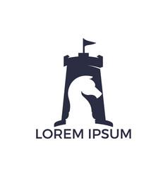 Fort chess logo design concept vector