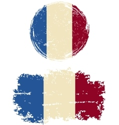 French round and square grunge flags vector