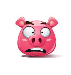 Funny cute crazy pig icon sad smiley symbol of vector