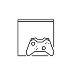 gamepad with video game console icon in outline vector image