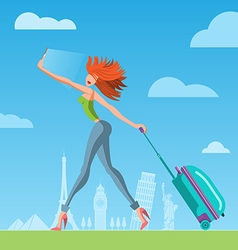 Girl with suitcase vector