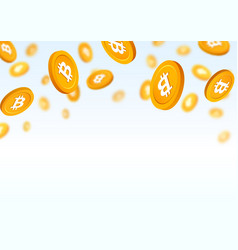 gold coins bitcoin falling down vector image