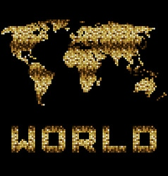 Golden dotted world map vector