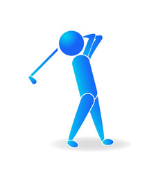 Golf man player logo blue design vector