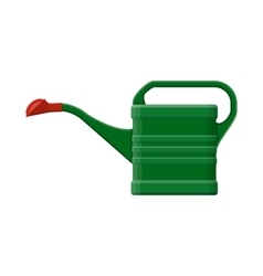 green plastic watering can isolated on white vector image