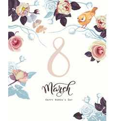 happy 8 march international women s day retro vector image