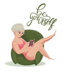 Happy plus size girl with book body positive vector