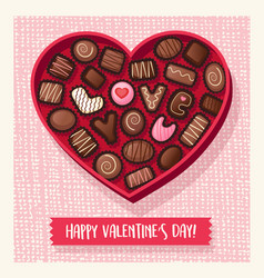 Heart shaped valentines day candy box vector
