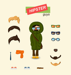 hipster guys fashion set vector image