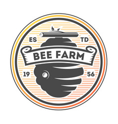 honey farm vintage isolated label vector image