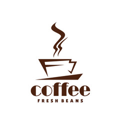 Hot coffee steam cup line icon for cafe vector